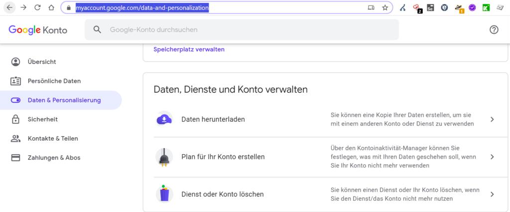 Auf google.de kommt ihr in euren Account über Klick auf euer Icon oben rechts, dann durchklicken, ansonsten könnt ihr auch den Links hier im Text folgen